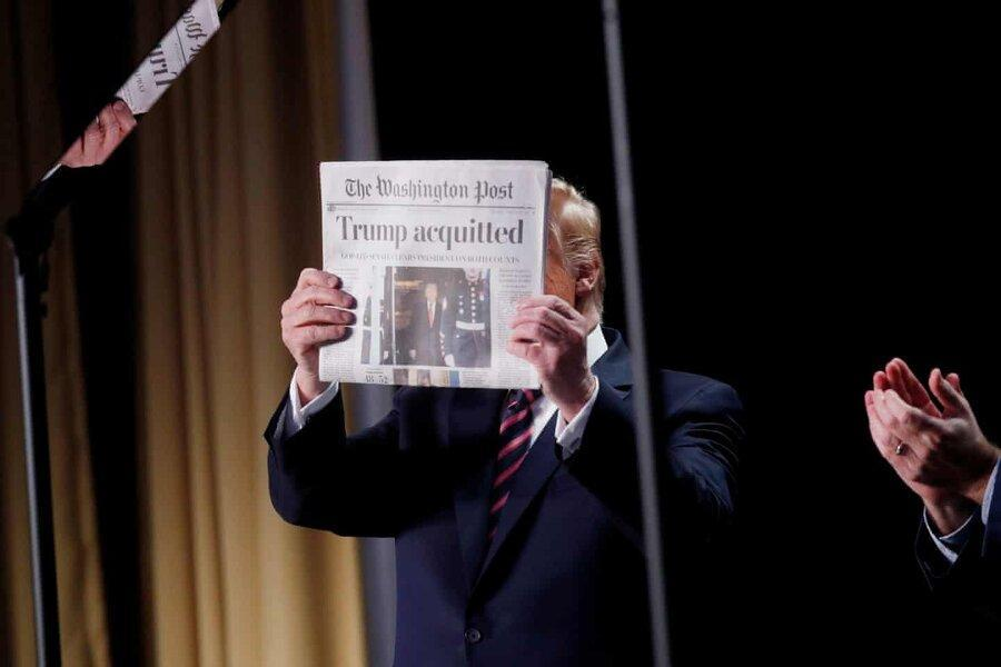 اولین سخنرانی ترامپ بعد از تبرئه ، تصویری که به کنایه نشان داد